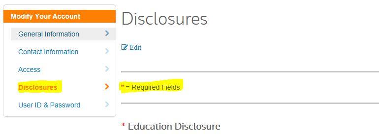Enter Disclosures